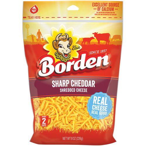 Borden Natural Shredded Sharp Cheddar Cheese, 8 oz