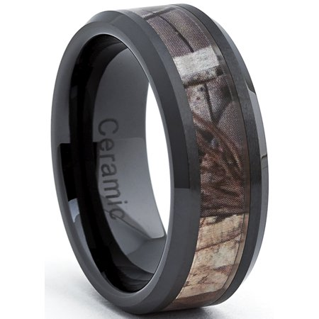 Black Ceramic Men's Hunting Camo Ring, Comfort Fit Band, 8mm Sizes 5 to 15](Camo Ring)