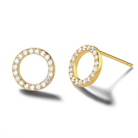 Carleen 14k Yellow Gold Plated 925 Sterling Silver Dainty Tiny Statement Embroidered Round Open Circle Cz Cubic Zirconia Earrings Delicate Fine