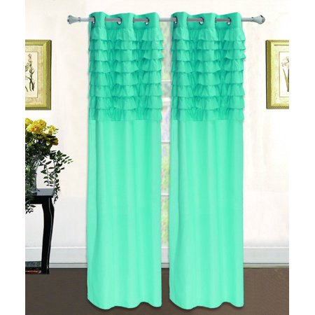 Katy Solid Ruffled Pleated Window Curtain Panel With Grommets 108