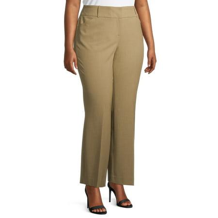 Women's Plus Size Terra & Sky Constructed Waist Bootcut Career Pants