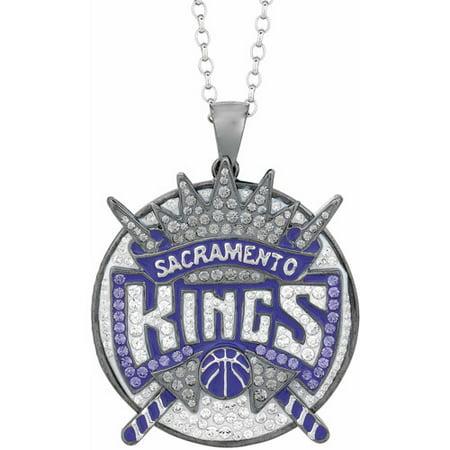"NBA Mens Swarovski Crystal Stainless Steel Sacramento Kings Medallion Pendant, 24"" by"