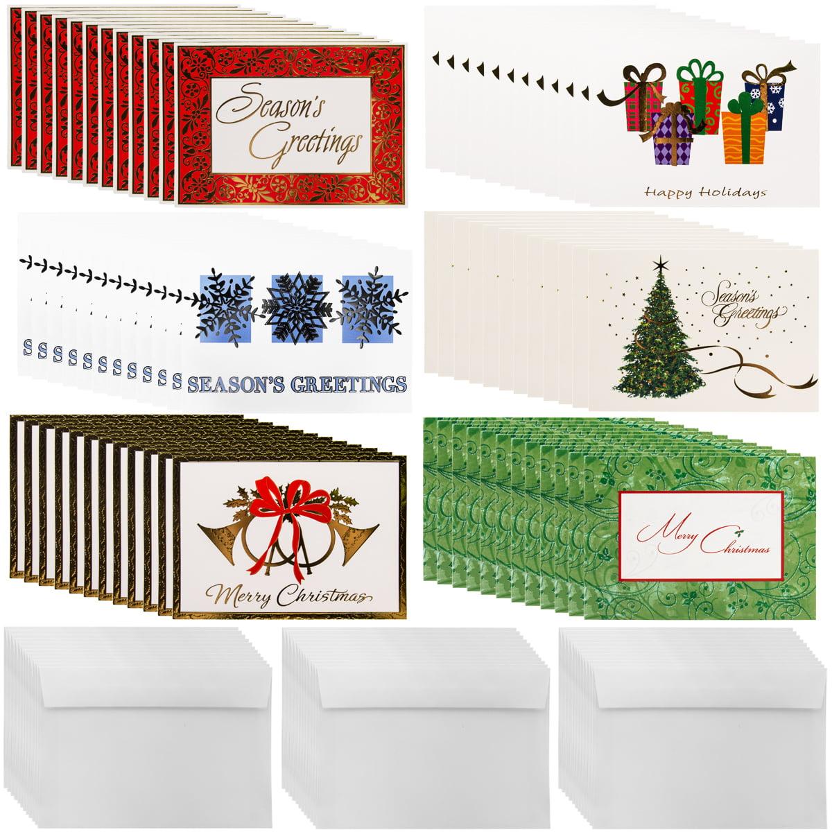 Designer Greetings (72ct) Holiday Cards & Envelopes Christmas Greetings Bulk Boxed Sets Glitter Foil