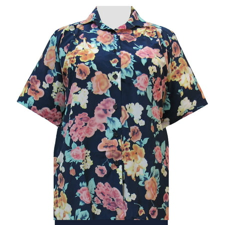 592d8d9b0d3 A Personal Touch - A Personal Touch Women s Plus Size Short Sleeve  Button-Up Print Blouse with Pleats - Blue Painted Floral - 5X - Walmart.com