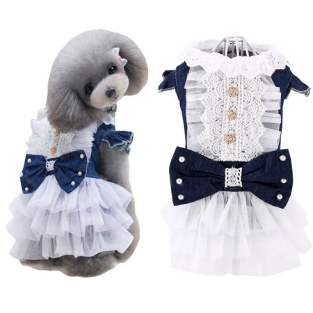 Retro Pet Dog Denim Lace Skirt Party Princess Dress Cat Costumes Cute](Cute Dog Costume)