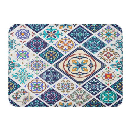 KDAGR Beautiful Mega Patchwork Pattern and in Rhombus Portuguese Tiles Azulejo Moroccan Ornaments Doormat Floor Rug Bath Mat 23.6x15.7