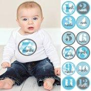 Geometric Blue & Gray - Baby Boy Monthly Sticker Set - Baby Shower Gift Ideas - 12 Piece