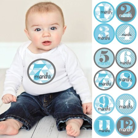 Geometric Blue & Gray - Baby Boy Monthly Sticker Set - Baby Shower Gift Ideas - 12 Piece - January Craft Ideas