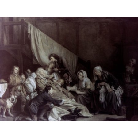 Paralytic Helped by His Children by Jean Baptiste Greuze oil on canvas 1763 1725-1805 Russia St Petersburg The Hermitage Canvas Art - Jean Baptiste Greuze (18 x