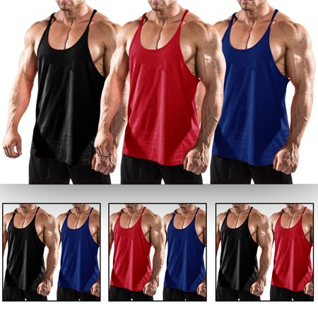 e4b6d9d3 Men's Tank Top Sleeveless Gym Singlets Vest for Bodybuilding Mens Muscle  Tee Bundle, 3 PACK (Black+Blue+Red) M - Walmart.com