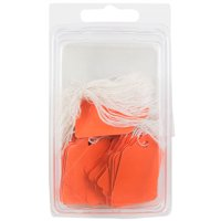 JAM Gift Tags with String, Orange, 50/Pack, Mini, 1 3/4 x 1 1/10