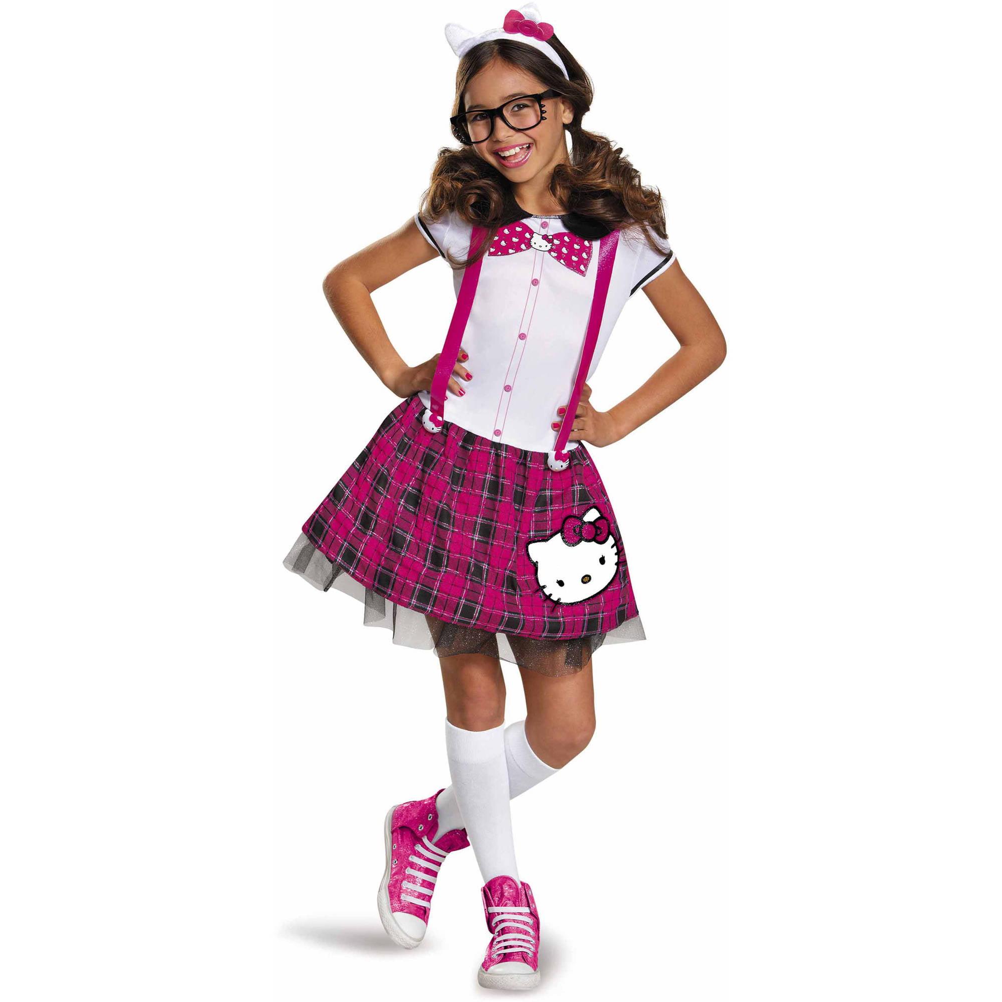 hello kitty tween nerd dress up halloween costume walmartcom - Halloween Hello Kitty Costume