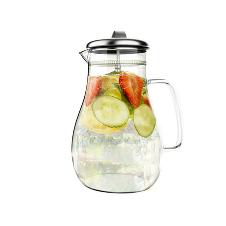 64oz Hot/Cold Glass Pitcher Carafe with Stainless Steel Filter Lid by Classic Cuisine - Hand Painted Glass Pitcher