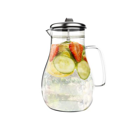 - 64oz Hot/Cold Glass Pitcher Carafe with Stainless Steel Filter Lid by Classic Cuisine