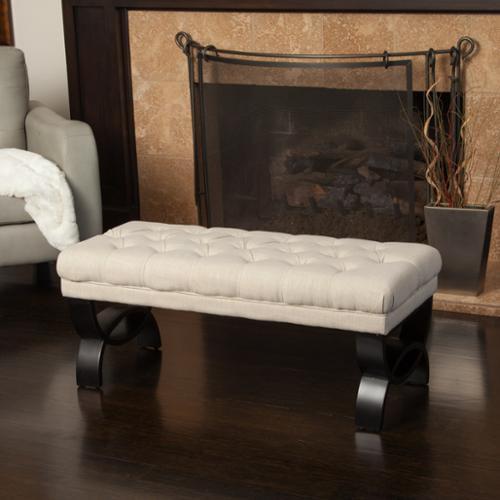 Easton Tufted Light Beige Fabric Ottoman Bench