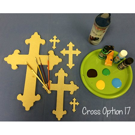 Wooden Cross Cutout, 16'' Paintable Wood Cross, Unfinished Craft (17)