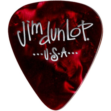 Dunlop Premium Celluloid Classic Guitar Picks 1 Dozen Red Pearloid (Classic Celluloid Shell Thin)