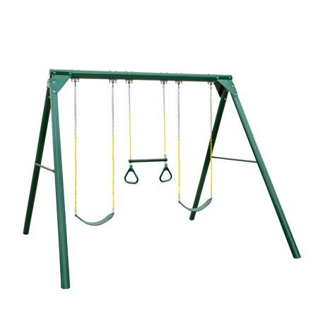 Gorilla Playsets Roundabout Wooden Swing Set with 2 Belt Swings and Trapeze Bar