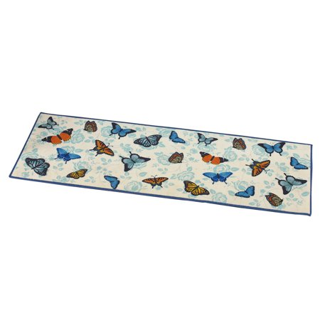 Butterfly Garden Floral Accent Runner Rug With Skid