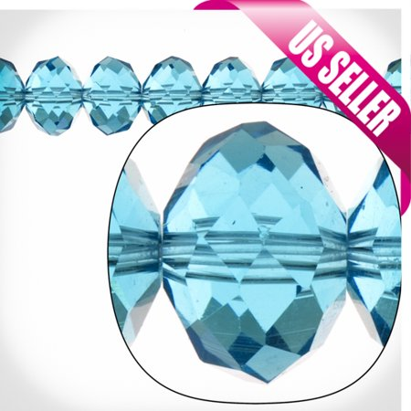 Aquamarine Blue Rondelle Crystal Beads 9x12mm, 46 Beads / string of 16 -