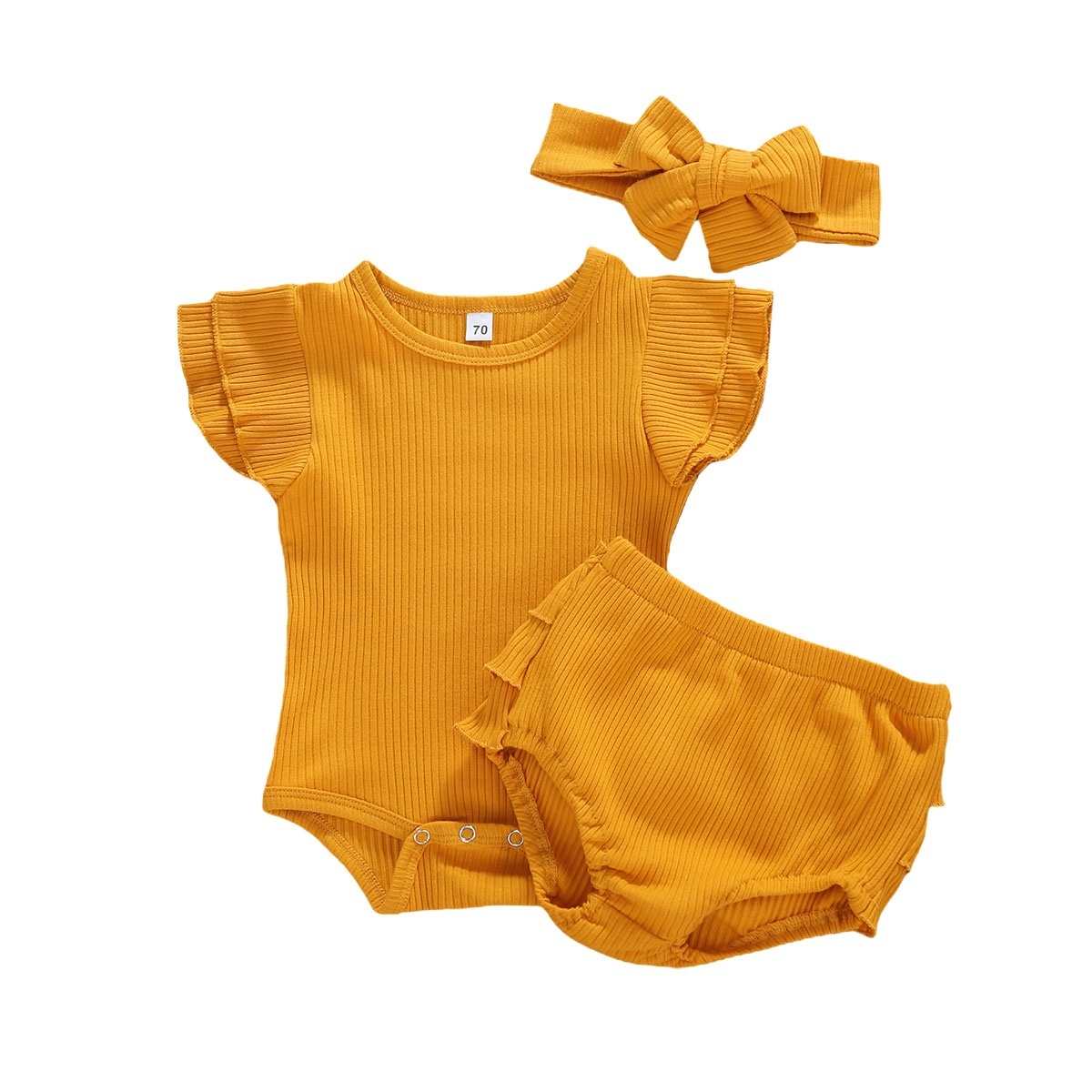 Infant Newborn Baby Girl Romper Tops Jumpsuit Pants Headband Outfits Clothes Set