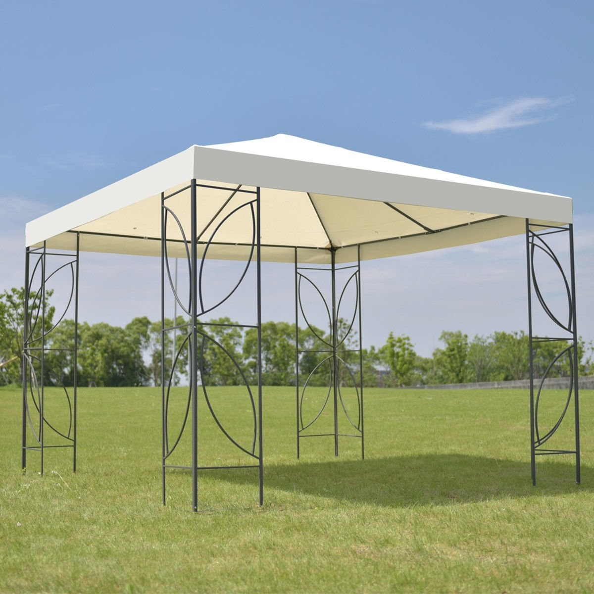 New MTN-G MTN-G Patio 10'x10' Square Gazebo Canopy Tent Steel Frame Shelter Awning W Beige Cover by MTN Gearsmith
