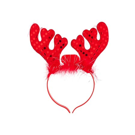 - Lux Accessories Red Reindeer Antlers Sequins Light Up Fur Girls Fashion Headband