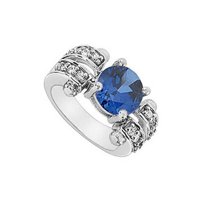 FineJewelryVault UBUK1262W10CZS-118 Diffuse Sapphire and Cubic Zirconia Ring : 10K White Gold - 2. 50 CT TGW - Size: 7