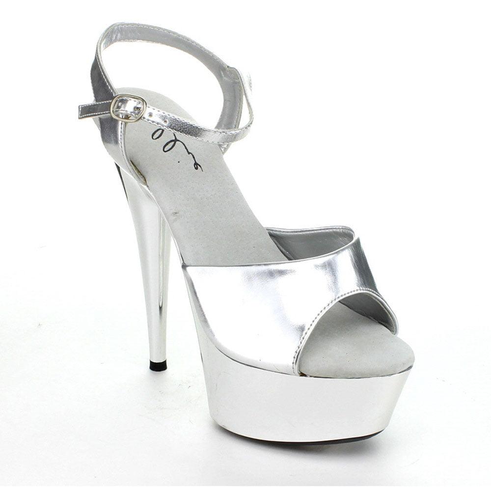 Ellie Shoes Chrome E-609-Chrome 6 Pointed Chrome Shoes Stiletto Sandal 6 / Black/Silver Chrome 51750e