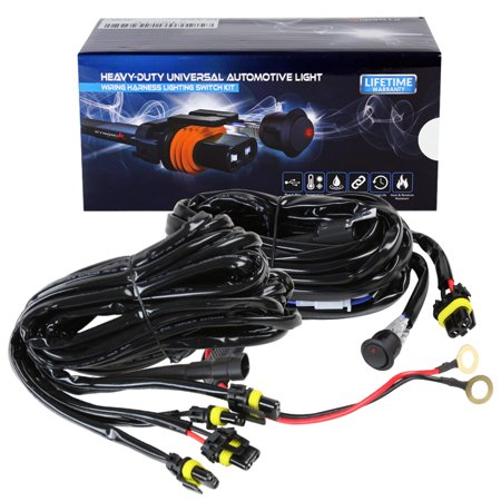 A 500W Fog Light 12 Gauge 1 + 4 Connectors Wiring Harness Kits W/ Switch (Left + Right) (40a Electronic)
