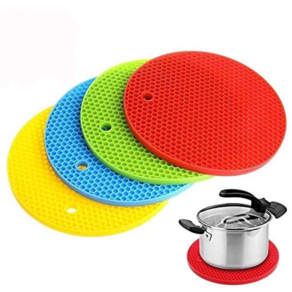Squad Marketing Thick Silicone Trivet Mat, Hot New Pads Slip Silicone Insulation Mat For Trivets, Coaster, Placemat, Jar Openers, Spoon Rests For Home Kitchen Use(4Pcs)