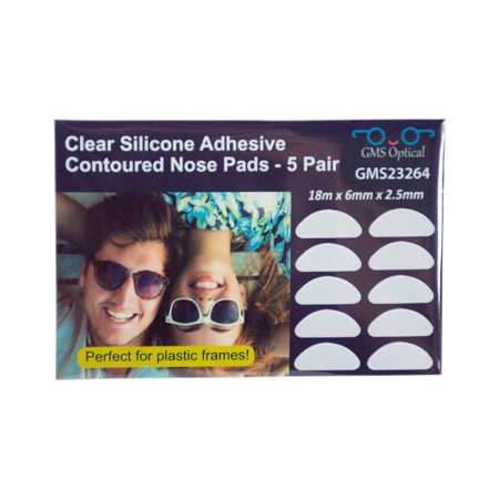9d7ca423c2 GMS Optical Half Moon Shaped Contour Silicone Nose Pads 2.5mm x 18mm Clear  (5 Pair) - Walmart.com