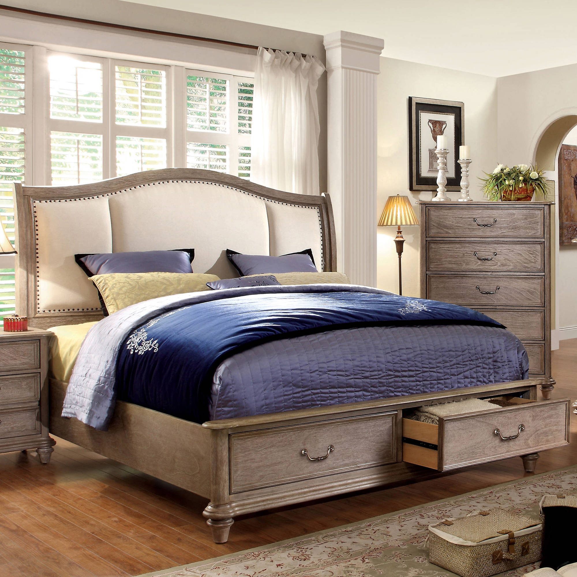 Furniture of America Vinita IV California King Bed With Storage, Natural Tone