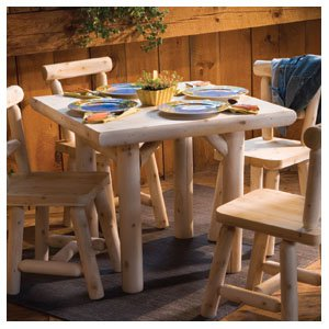 Rustic Natural Cedar Furniture Old Country 35 in. Solid Top Dining Table
