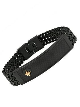 Men's Black Carbon Fiber Franco Chain ID Bracelet w/ 10K Gold Accent