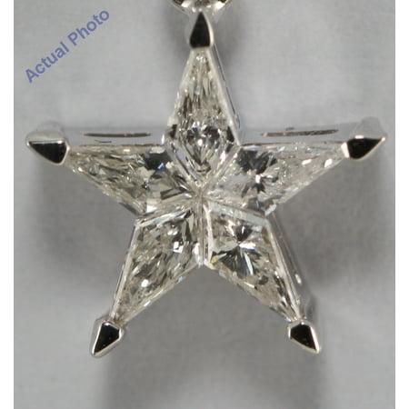 18k White Gold Kite Invisible Setting Five pointed pentangle star diamond pendant (0.26 Ct, G , SI )