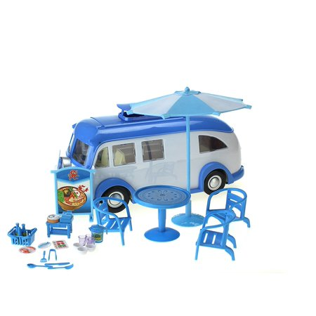 Good Seafood Food Truck - Design-able Toy Food Truck w/ Outdoor Tables, Dish/Food Replicas, & Design Stickers