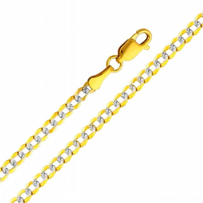 Precious Stars SEC0128240 Two Tone Gold 3. 2 mm.  Cuban Chain 24 inch Necklace