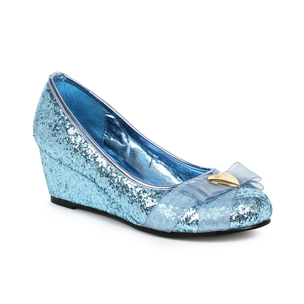 Womens Princess Blue Glitter with Heart Decor Costume Shoes