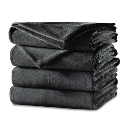 Sunbeam Heated Blanket | Velvet Plush, 10 Heat Settings, Slate, (Ten In The Bed Chu Chu Tv)