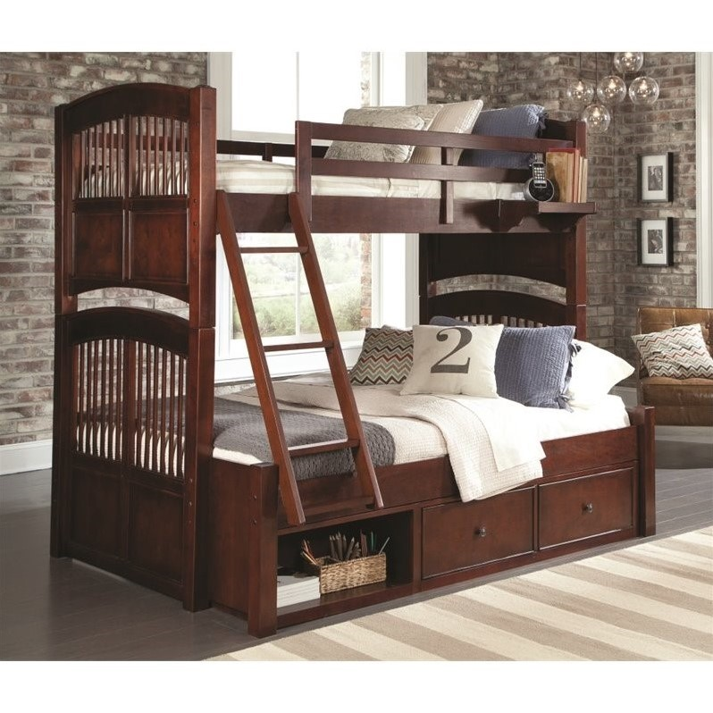NE Kids Walnut Street Hayden Twin over Twin Storage Bunk in Chestnut