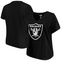 Women's Majestic Black Las Vegas Raiders Plus Size Logo V-Neck T-Shirt