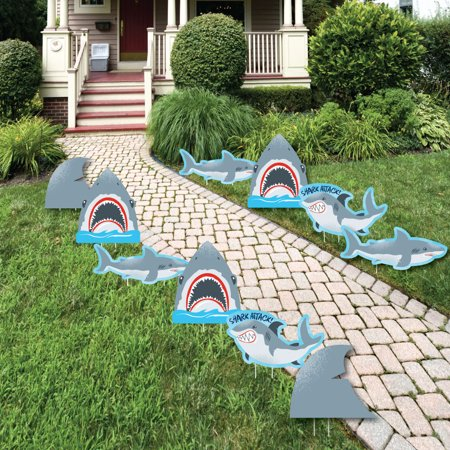 Shark Zone - Shark Week Party - Shark and Fin Lawn Decor - Outdoor Jawsome Shark Party or Birthday Party Yard -10 Ct - Shark Party Decor