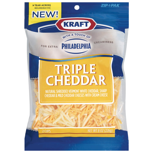 Kraft Shredded Triple Cheddar Cheese With A Touch Of Philadelphia, 8 oz