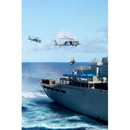 LAMINATED POSTER Two MH-60S Sea Hawk helicopters transfer pallets of stores from the fast combat support ship USNS Ra Poster Print 24 x (Fast Ship Discount Outlet Store)