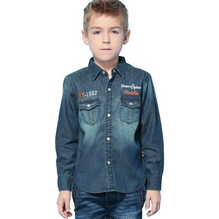 Front Snap Pockets (Leo&Lily Big Boys' Casual Snaps Down Denim Shirt Front Pockets Navy Blue)