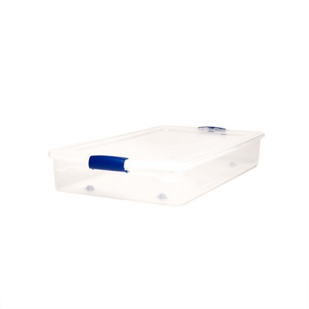 Homz 60 Quart Clear Under Bed Storage Container