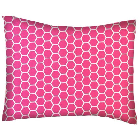 sheetworld crib toddler pillow case cotton percale hot pink honeycomb - Toddler Pillow Case
