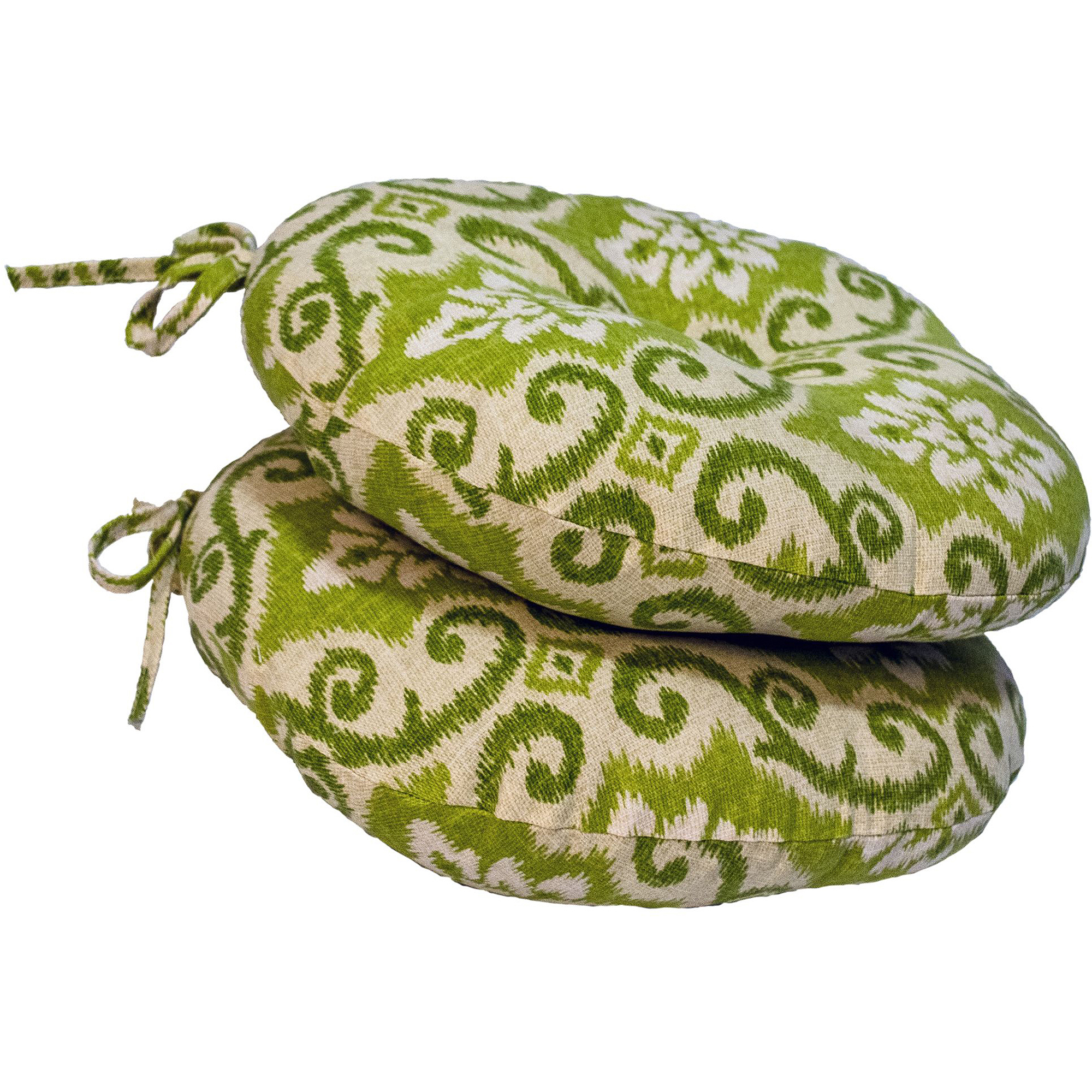 "Greendale Home Fashions 15"" Round Outdoor Bistro Chair Cushion, Set of 2, Green Ikat"