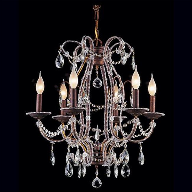 Upscale Chandelier 483339-6-MSS Antique Reproduction Beaded Chandelier with Hand Polished Crystal Trim - Silver Streak
